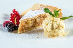 CLASSIC VEGAN APPLE PIE garnished with red currant, blackberry, raspberry.
