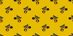 Classic Venetian theater mask with leather toy handcuffs isolated on a yellow pixel background. Seamless texture of a repeating pattern. The concept of adult Wallpaper for design.