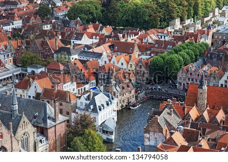 Classic view of Bruges. Belgium. Medieval fairytale city. Summer urban