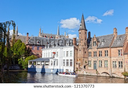Classic view of channels of Bruges. Belgium. Medieval fairytale city. - stock photo
