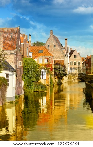 Classic view of channels of Bruges. Belgium. Medieval fairytale city