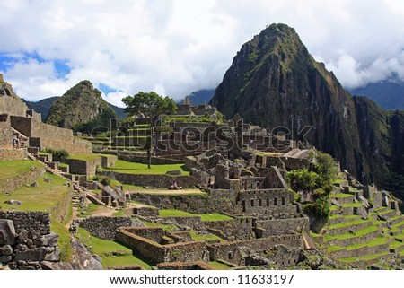 Classic view of Machu Picchu, the lost Inca city, in Peru