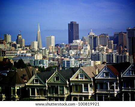 Classic View of Painted Ladies and San Francisco skyline with vignette