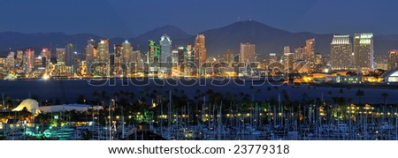 Classic view of San Diego skyline at night