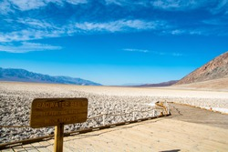 Classic view the point - Badwater. Under the sea level in Death Valley