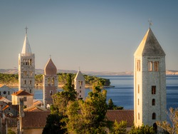 Classic view with belltowers of the churches of Rab croatia