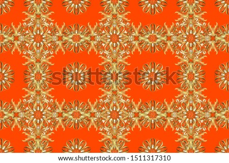 Classic vintage background. Classic raster golden seamless pattern. Traditional orient ornament. Seamless pattern on brown and orange colors with golden elements.