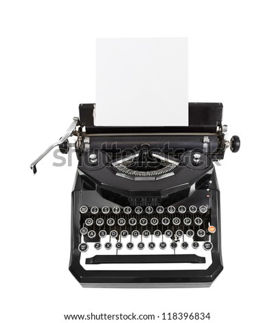 Classic vintage black typewriter isolated with paper.