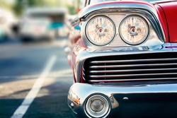 Classic vintage car headlights close-up
