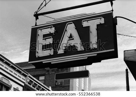 classic vintage eat signage on...