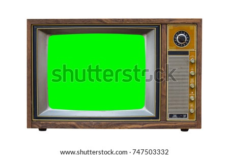 Classic Vintage Retro Style old  television with cut out screen,old  television on  isolated background.television with  green screen.