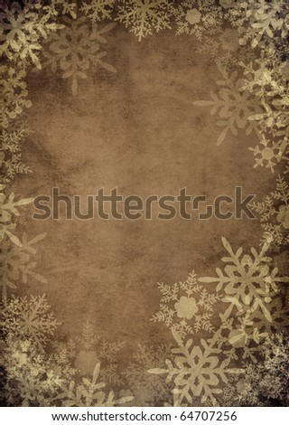 classic vintage snowflake frame background for christmas