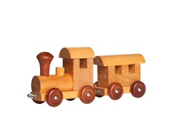 Classic vintage wood toy, train toy made by real wood for children isolated on white background.