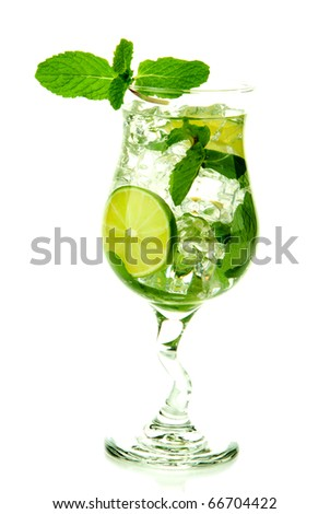 Classic Virgin Mojito summer drink without  alcohol with lime, spring of mint, sprite soda and syrup in cocktail glass isolated on a white background