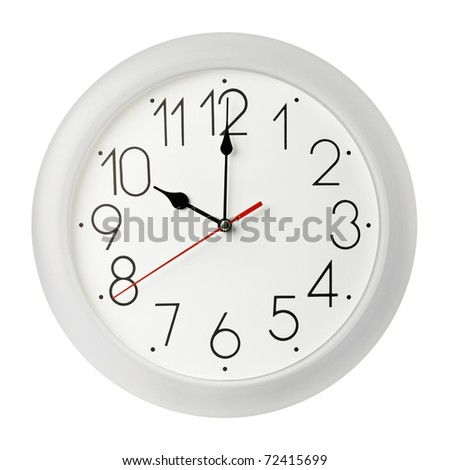 Classic wall clock , isolated on white
