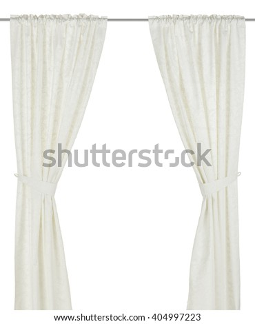 Classic warm white curtain. Isolated on white background. Include path.