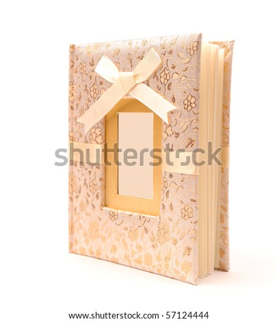 classic wedding photo album over white