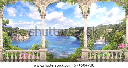 Classic white columns overlooking the sea, flowers and descent to water.