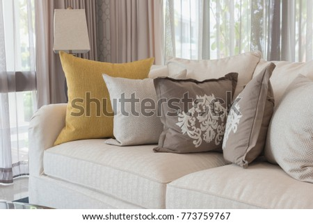 Classic White Elegance Sofa In Living Room With Set Of Pillows, Interior  Design Concept