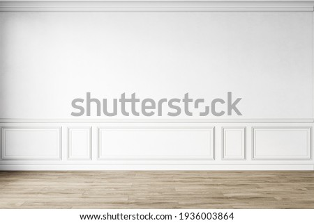 Classic white empty interior with wall panels, moldings and wooden floor. 3d render illustration mockup.