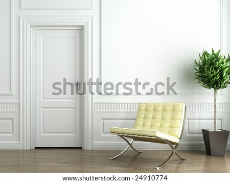 Classic white interior with barcelona chair and plant