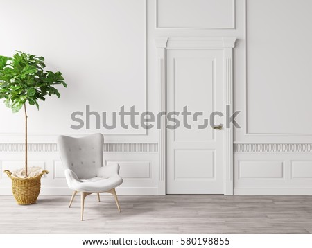 Shutterstock classic white interior with chair and plant 3D illustration