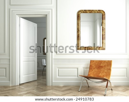 Classic white interior with chair mirrors and open door