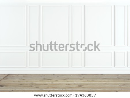 Classic white interior with wooden floor