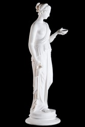 Classic white marble statue of Hebe, the goddess of youth, isolated on black background
