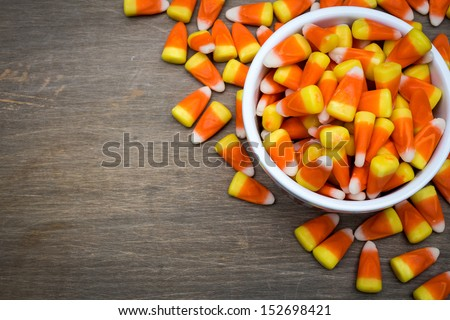 Classic White, Orange And Yellow Candy Corn Sweets For Halloween With Copy Space.
