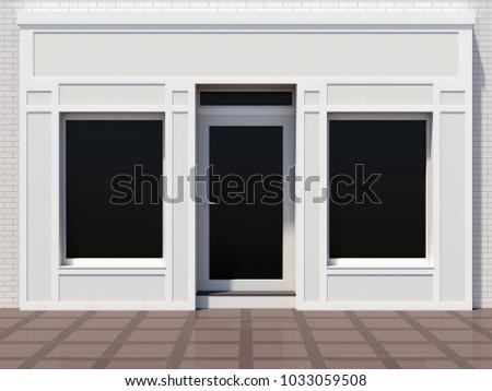Classic white shopfront 3D render