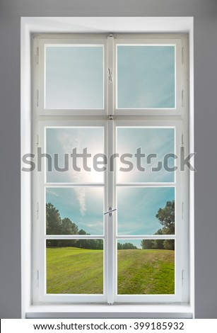 Classic white window and the forest view
