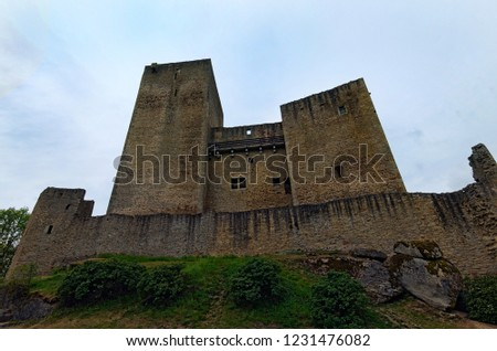 Classic wide-angle view of ancient ruins of Landstejn Castle. It is the oldest and best preserved Romanesque castle in Europe. South Bohemian, Czech Republic.