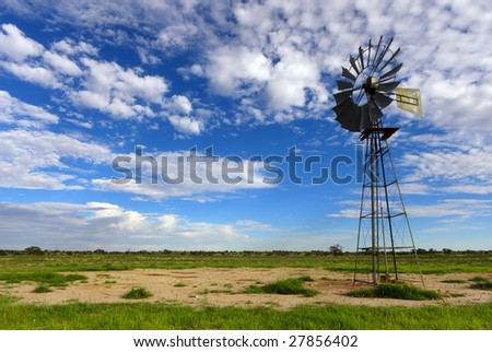 Classic wind-pump on farm used to pump water from borehole