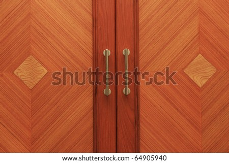 Classic wooden door with metal handle