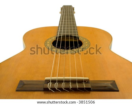 Classical acoustic guitar, isolated on white background
