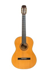 Classical acoustic six-string guitar isolated on white background