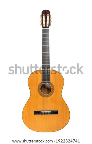 Classical acoustic six-string guitar isolated on white background  Сток-фото ©