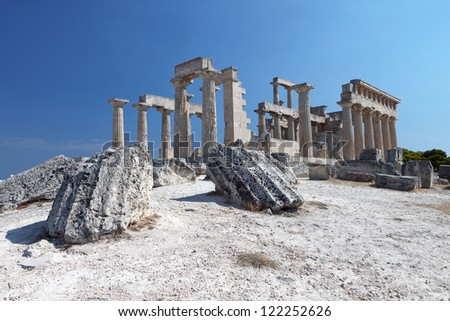 Classical ancient temple of Aphaea Athina at Aegina island in Greece.