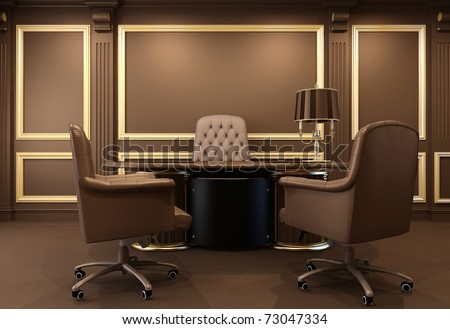 Classical and modern office interior. Workplace. Luxurious table. Old apartment