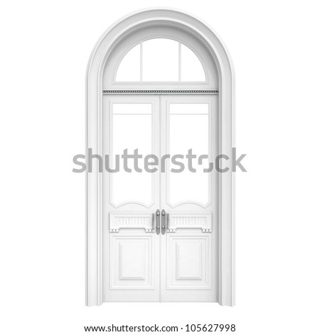 Classical architecture style interior object: white wooden door isolated on white
