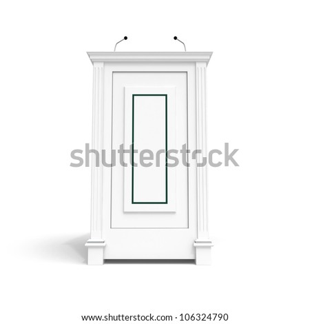 Classical architecture style interior object. White wooden podium isolated on white with soft shadow