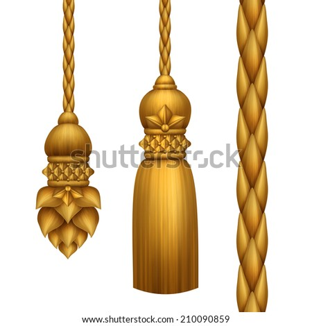 classical baroque gold tassels set isolated on white background