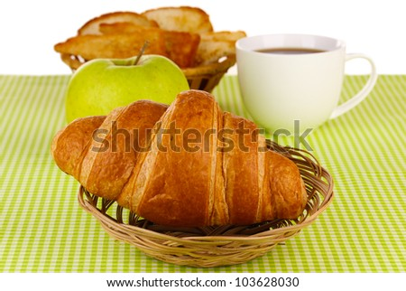Classical breakfast. Coffee and croissant