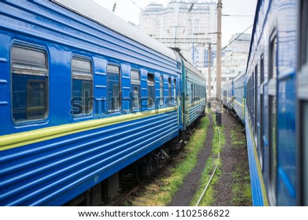 Classical cars of passenger train from outside. Many passenger cars.
