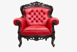 classical carved wooden chair upholstered in leather
