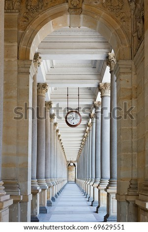 Classical colonnade in Karlovy Vary, Czech Republic