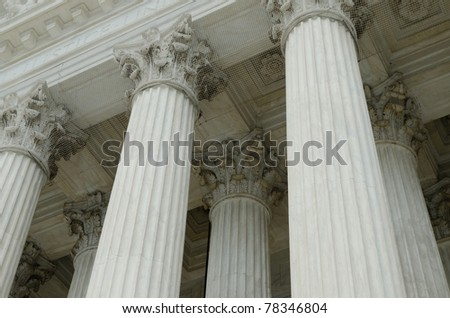 Classical columns with portico detail