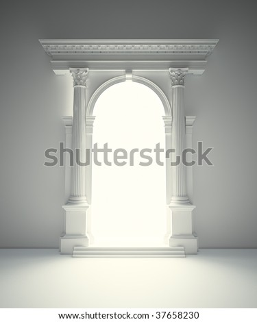 Classical Corinthian portal - stock photo