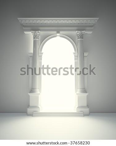Classical Corinthian portal - stock photo